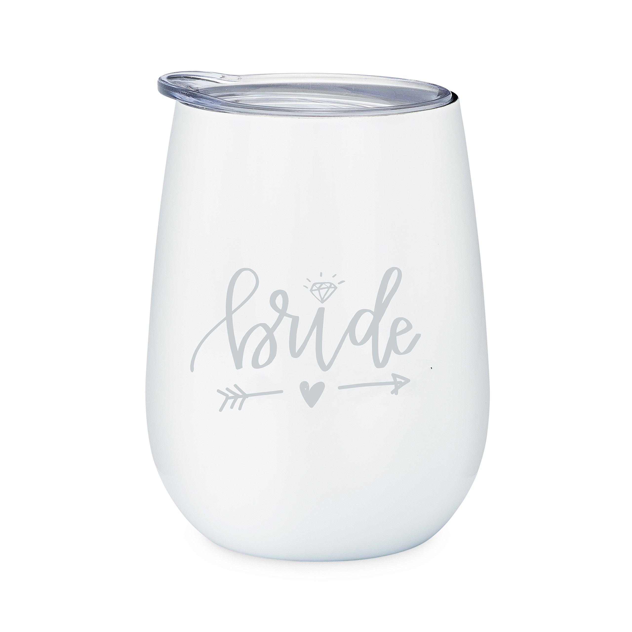 Bride - 10 oz Stainless Steel Wine Tumbler with Lid (White and Silver)