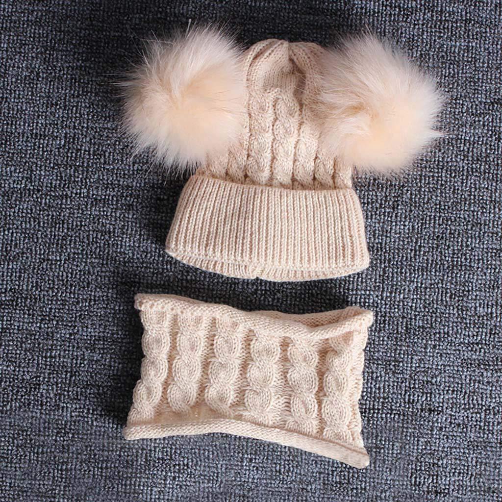 NUSGEAR Set di 2 Cappelli Invernali Lavorati a Maglia con PON PON 1-6 Anni Berretto A Maglia Bambino Inverno Autunno Caldo Antivento Morbido Cappello Sciarpa per Ragazzo Ragazza Elegante