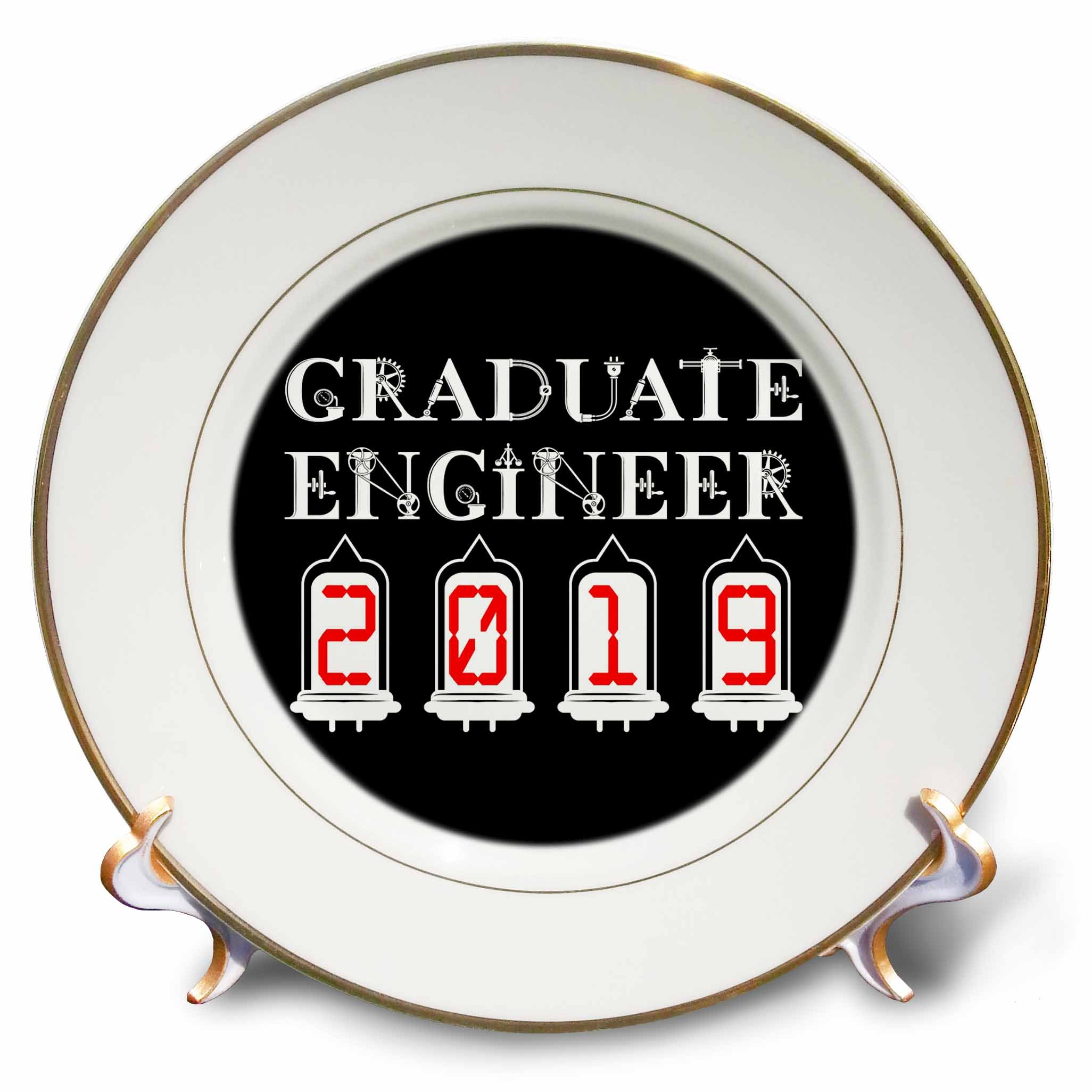 3dRose Alexis Design - Graduate Engineer - Graduate engineer 2019. Elegant, unique text on black background - 8 inch Porcelain Plate (cp_286042_1)