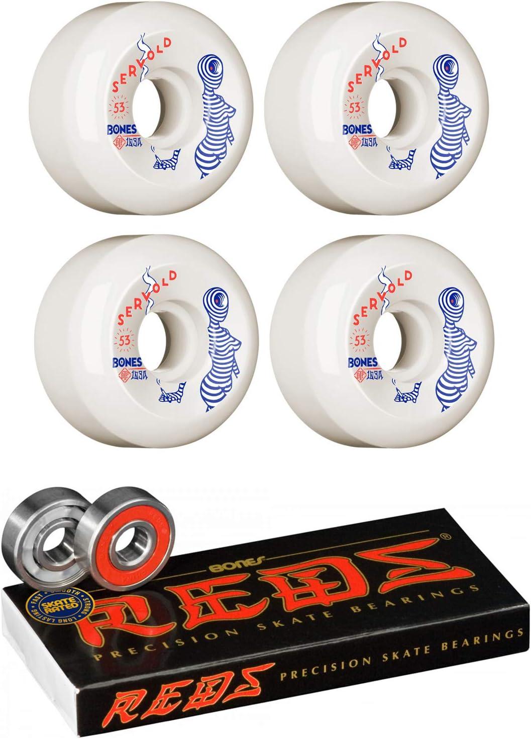 Bones Skateboard Wheels 53mm Servold Mindseye V5 103A STF with Bones Reds Bearings