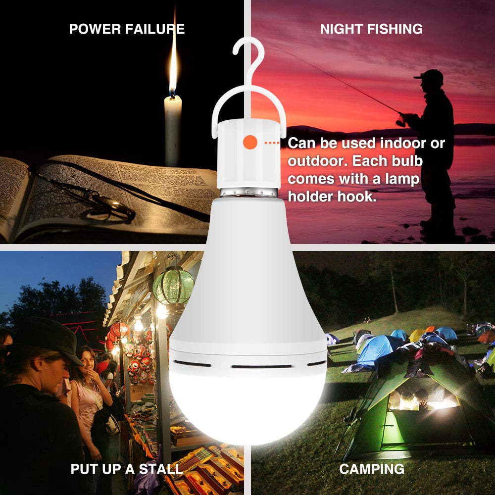 4 Pack Rechargeable Emergency LED Bulb 1200mAh 15W 80W Equivalent 6000K Battery Operated Light Bulb E27 with Hook for Power Outage Camping Tent Hurricane