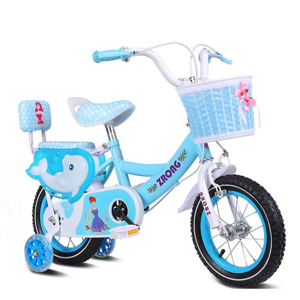 子供の自転車3-5歳の女の子の自転車14インチのベビーベビーカー高炭素スチールフレームバイク、ピンク/パープル/ブルー (Color : Blue) B07CYMRVT9