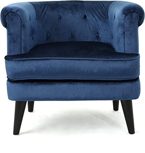 Christopher Knight Home Miguel Tufted Studded Mid-Century Velvet Club Chair, Cobalt Dark Brown