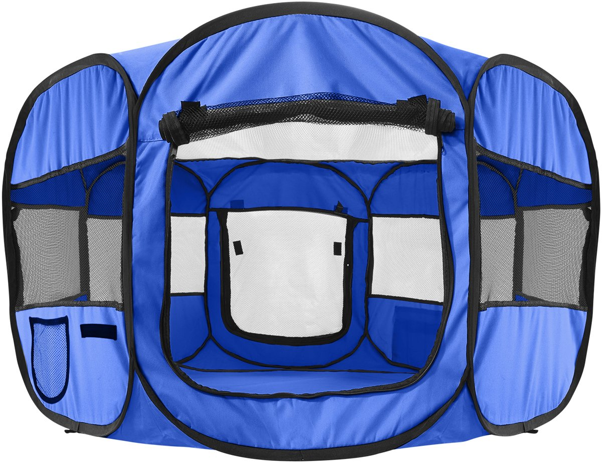 OxGord 8-Panel Pop-Up Tent with Carry Bag Portable PlayPen for Pets, 48 by 48 by 25'', Blue