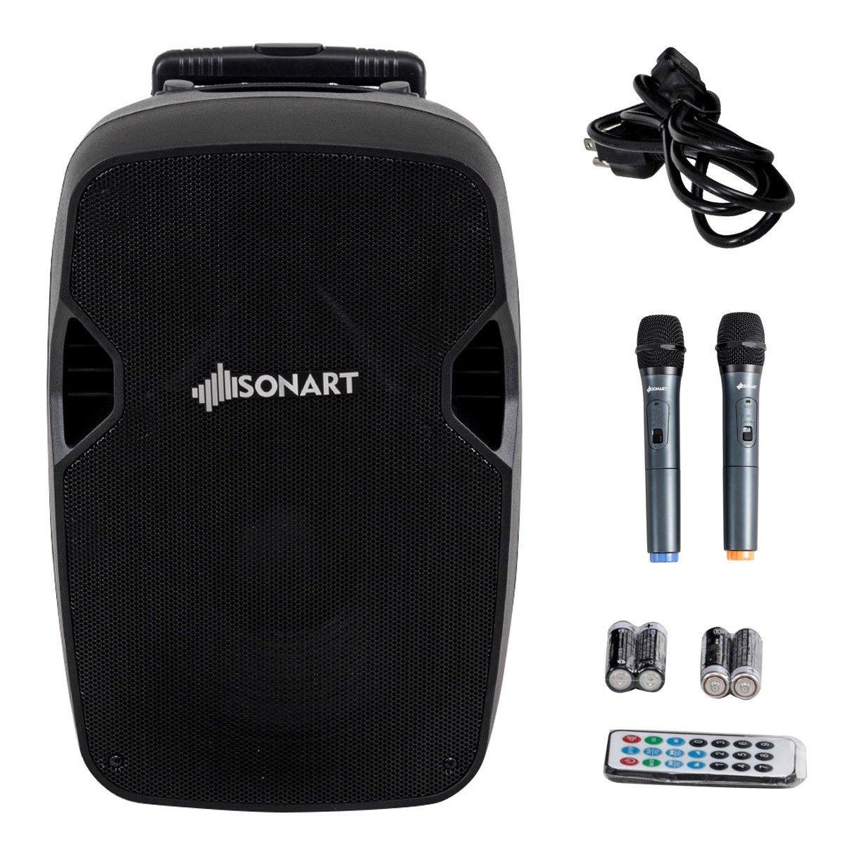 Sonart Powered Speaker, 800W 2-Way Portable Loud Speaker With Wireless Microphone (15'')
