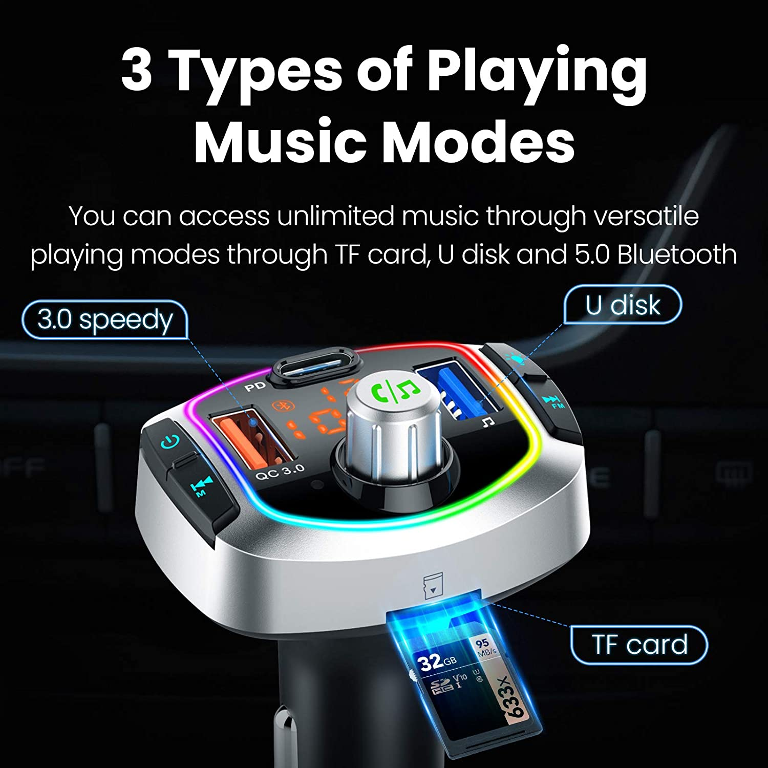 Easy to Setup Smart Adapter Supporting Stereo Hi-Fi Quality Music DESFLOW Bluetooth 5.0 FM Transmitter/&Charger for Car QC 3.0 Quick Charging,/2 USB Ports LED Backlit Hands-Free Calling TF Card