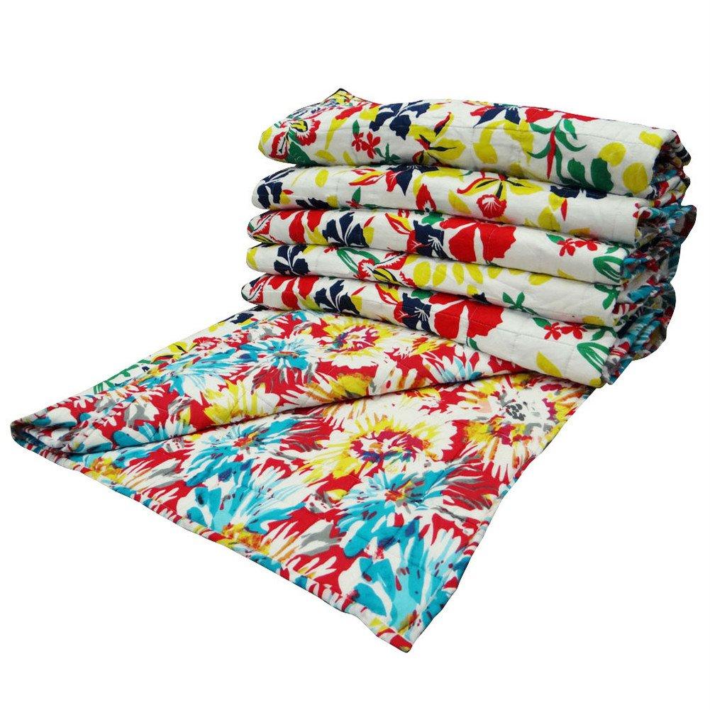 Handmade Quilt Queen Size White Reversible Bedspread Bedsheet Floral Pattern Home Décor Gudri India