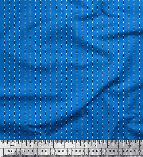 Soimoi Azul Georgette poli Tela Diamante y el Triángulo tela de camisa tela estampada de 1 metro 42 Pulgadas de ancho: Amazon.es: Hogar
