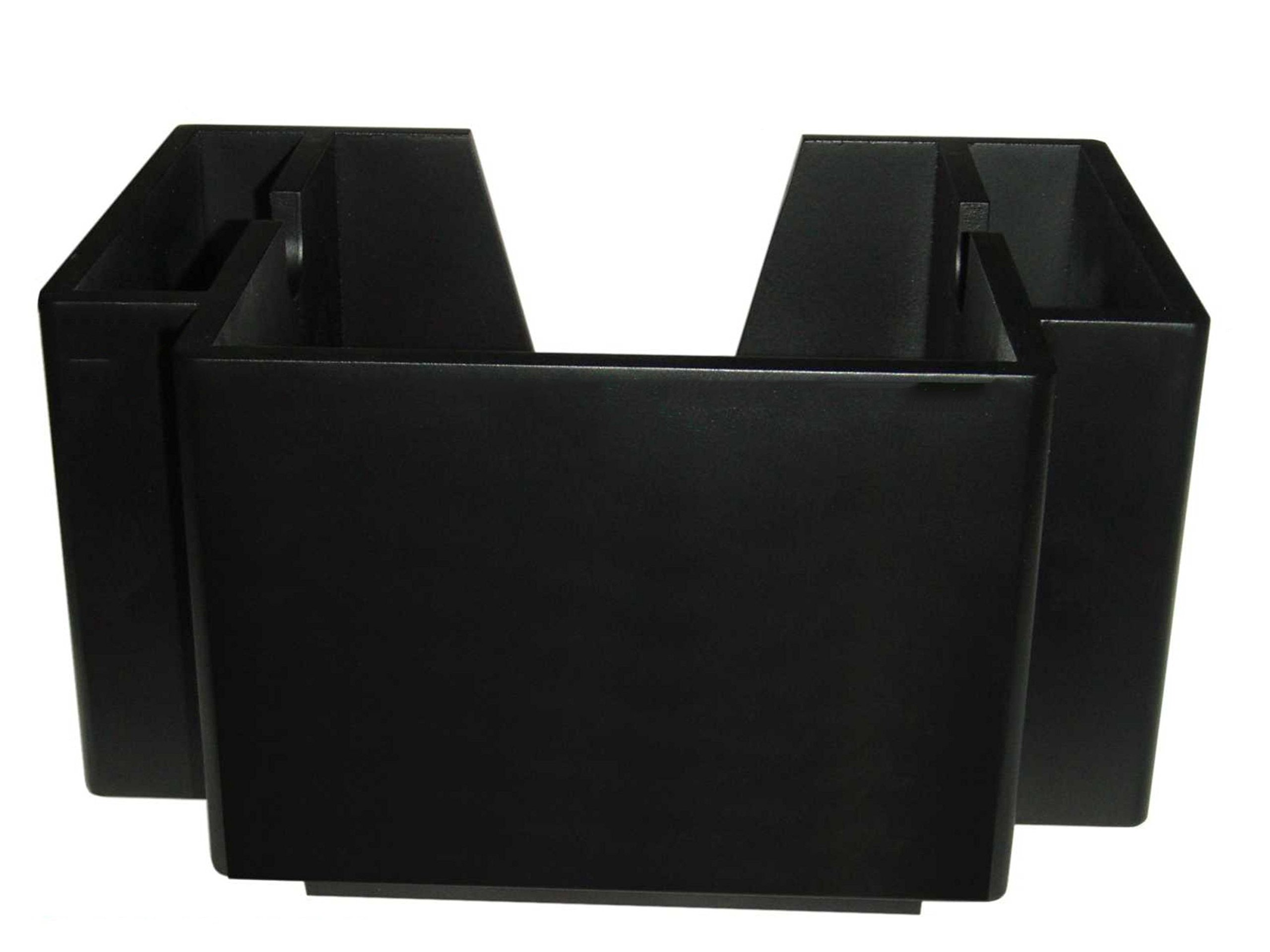 Wooden Classic Black 2 Pocket Napkin Bar Caddy Straw Holder