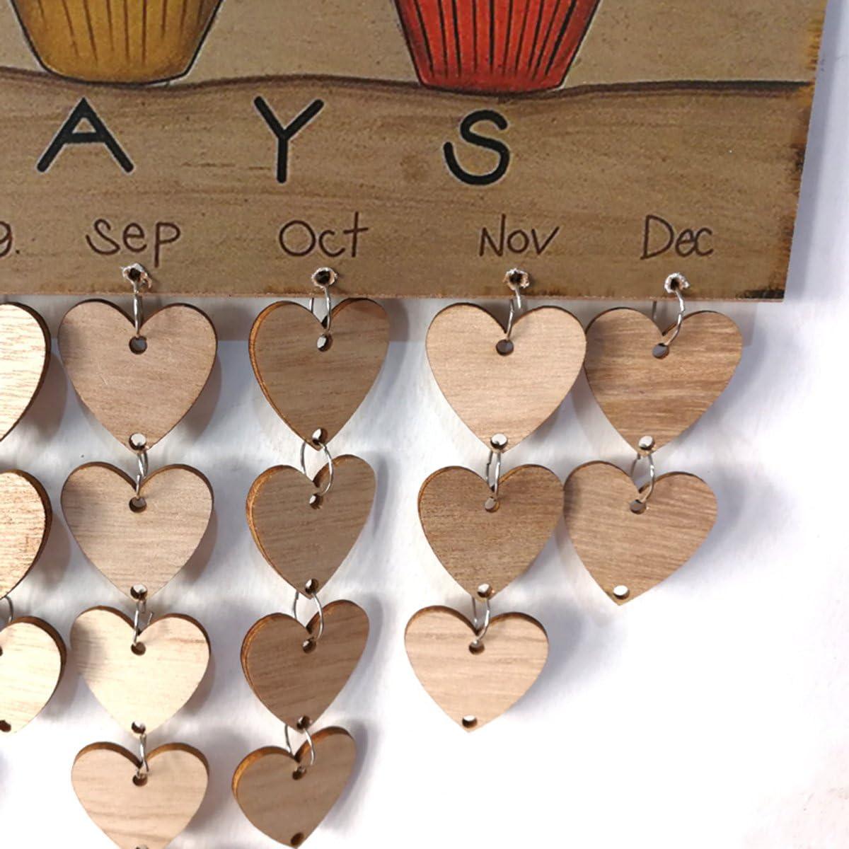 SUPVOX Family Birthday Board Calendrier Happy Birthday Calendrier en bois pour la d/écoration de votre f/ête danniversaire 1 plaque 1 corde 50 tranches de bois