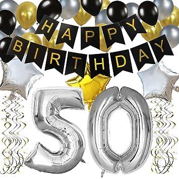 """KUNGYO Clásico Decoración de Cumpleaños -""""Happy Birthday"""" Bandera Negro;Número 50 Globo;Balloon de Látex&Estrella, Colgando Remolinos Partido para el ..."""