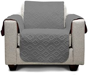 """Mary Maxim Furniture Covers - Quilted Couch Slipcover and Furniture Protector for Dogs, Cats, Pets, Kids - Side Pockets, Elastic Strap & Water Resistant (23"""" Chair/Recliner, Dark Grey & Maroon)"""