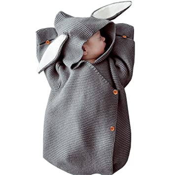 a23a41ce3a1 Amazon.com   MiMiXiong Newborn Baby Knit Sleeping Bags Bunny Easter Gift  Toddler Wearable Swaddle Sleep Sack (Grey-Bunny)   Baby