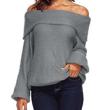 1b124ec2d4d Femme Hiver Pull Pas Cher A La Mode Chaud en Tricot Chandail Chemises  Epaule Denudee à