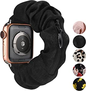 TOYOUTHS Compatible with Scrunchie Apple Watch Band Iwatch Bands 44/42mm Women Series 1/2/3/4/5/6 Cute Cloth Soft Pattern Printed Fabric Wristband Elastic Stretch Scrunchy Retro Band with Zipper
