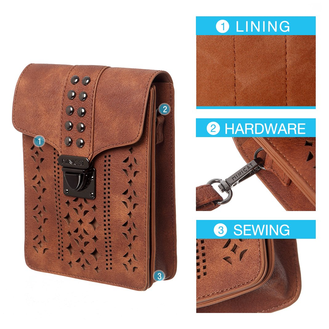 MINICAT Women Hollow Texture Small Crossbody Bags Cell Phone Purse Wallet With RFID Blocking Credit Card Slots(Brown-Thicker) by MINICAT (Image #3)