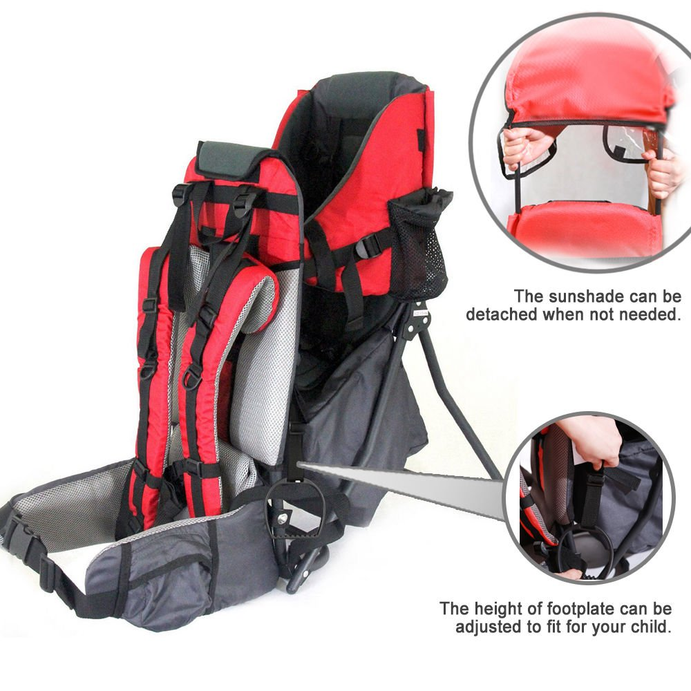 Baby Toddler Hiking Backpack Carrier with Stand Child Kid Sunshade Shield Red