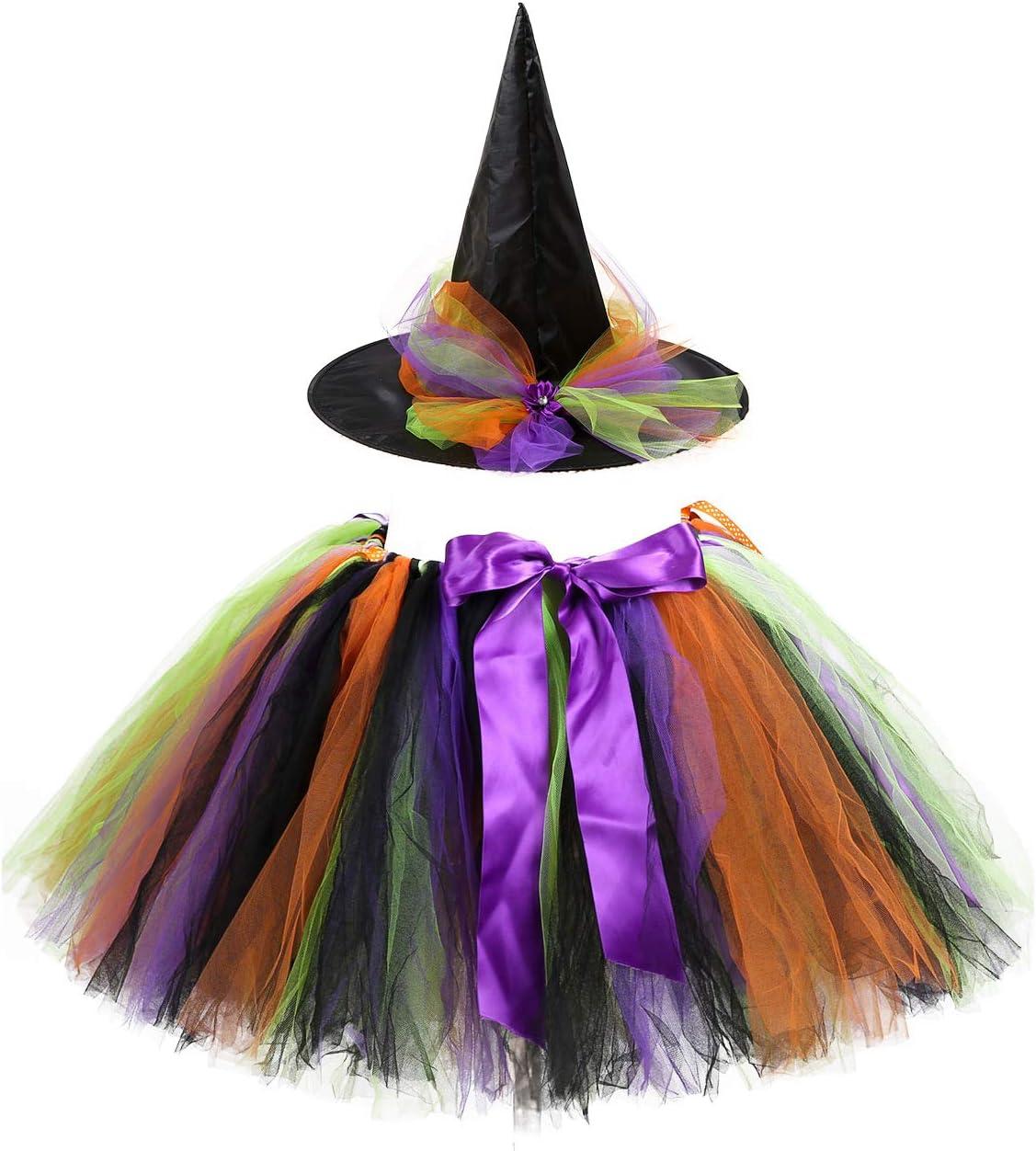 Azly-Cloth Falda de tutú Arcoiris y Sombrero de Bruja, Falda de ...