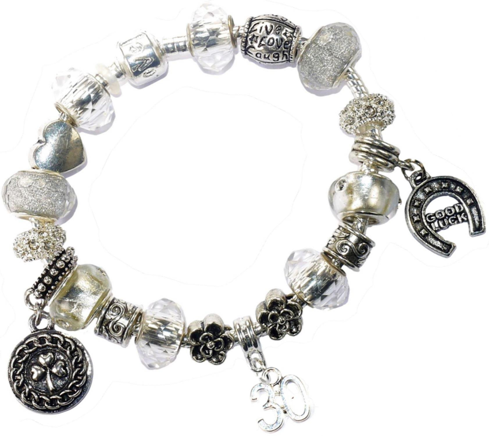Charm Buddy 30th Birthday Iced Silver Good Luck Pandora Style Bracelet With Charms Gift Box Jewelry
