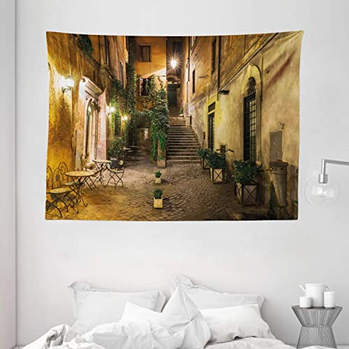 Ambesonne Italian Tapestry, Old Courtyard Rome Italy Cafe Chairs City Historic Houses in Street, Wide Wall Hanging for Bedroom Living Room Dorm, 80 X 60 , Orange Brown