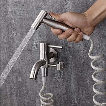 Grifo Doble salida de agua Jardín Lavadora Grifo de mano Bidé Ducha WC Grifos de bidé: Amazon.es: Bricolaje y herramientas