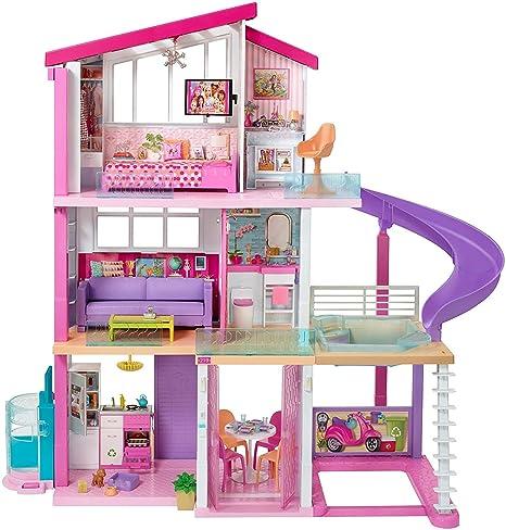 più vicino a arrivo nuovo aspetto Barbie Casa dei Sogni per Bambole con 8 Stanze, Garage, Scivolo ...