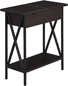 Convenience Concepts Tucson Flip Top End Table with Charging Station, Espresso/Black