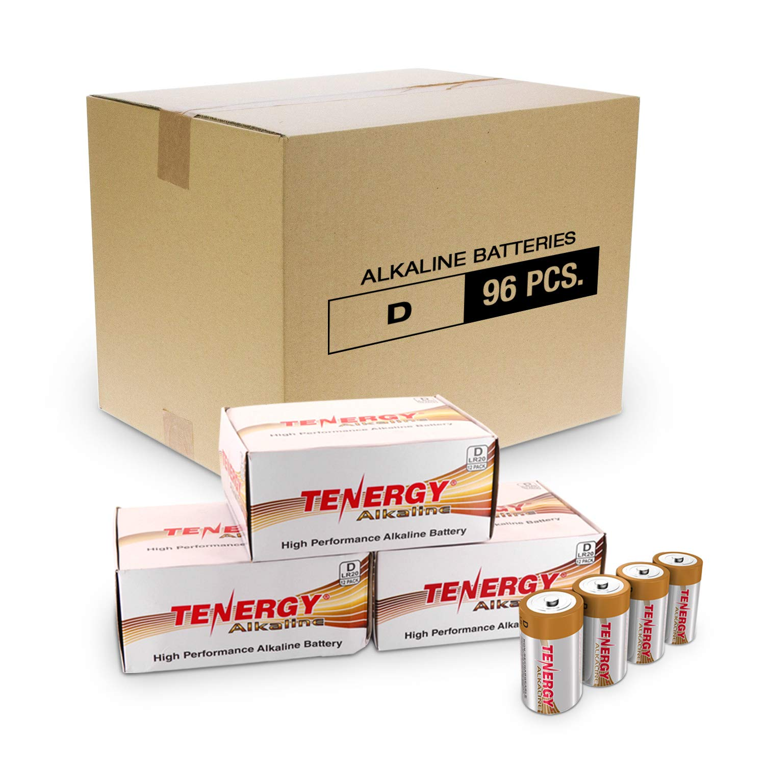 Tenergy 1.5V D Alkaline LR20 Battery, High Performance D Non-Rechargeable Batteries for Clocks, Remotes, Toys & Electronic Devices, Replacement D Cell Batteries, 96-Pack by Tenergy