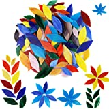 Lanyani 100 Pieces Petal Mosaic Tiles, Hand-Cut Stained Glass Flower Leaves Tiles for Crafts, Assorted Size&Colors