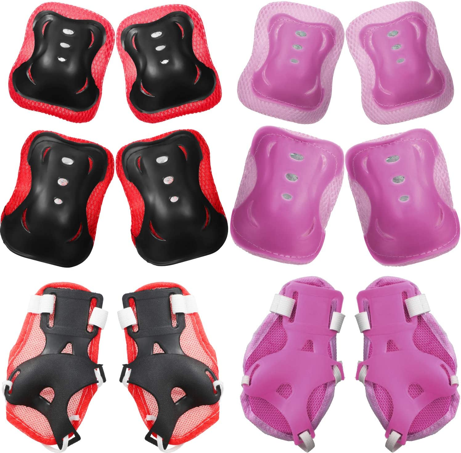 2 Sets Kids Protective Gear Set Knee Elbow Pads Wrist Guards for Youth Protection Guard Set for Skates Cycling Skateboard Inline Skating Scooter Riding Sports