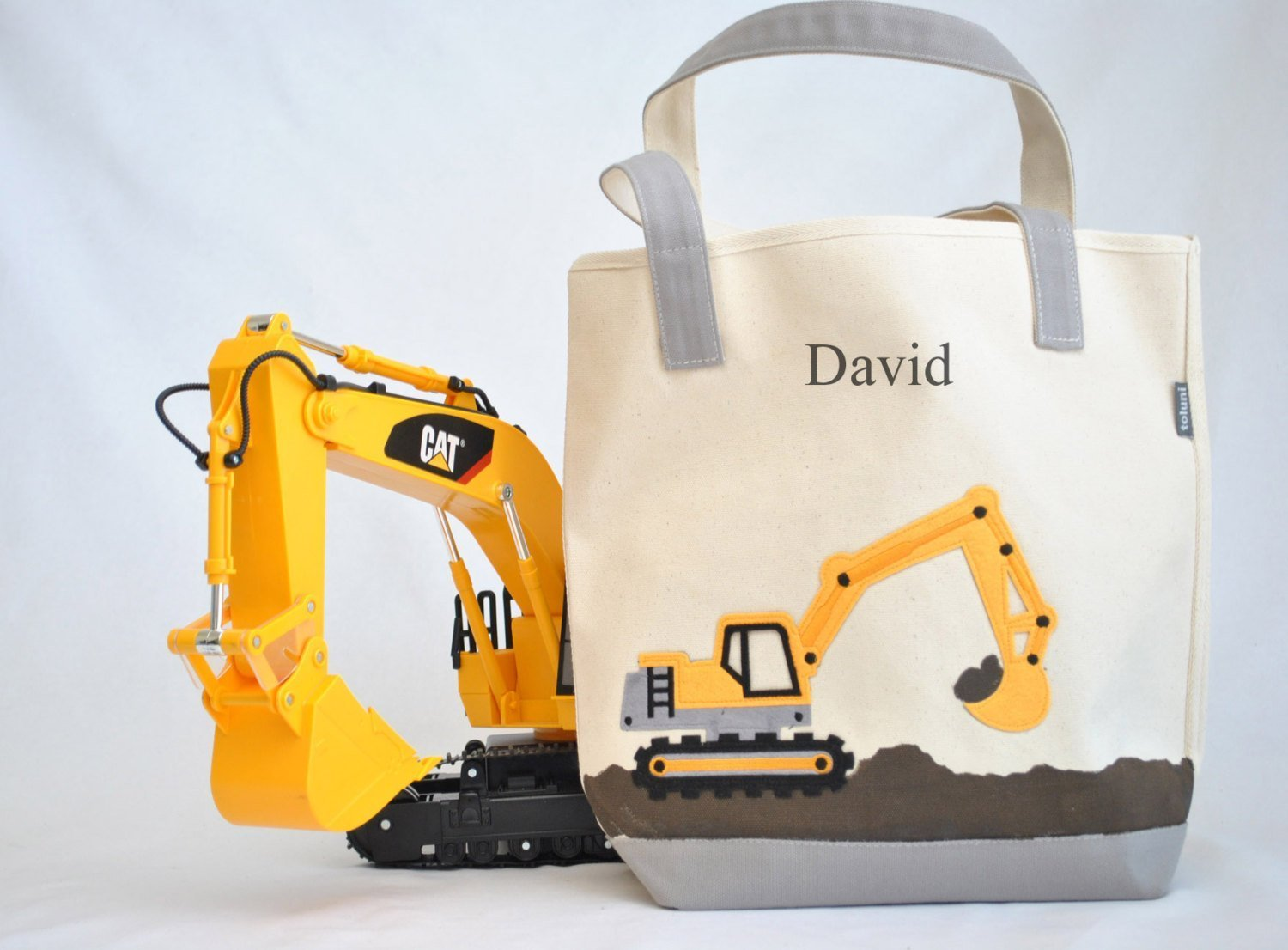 Construction truck Tote | Personalized Library bag| Digger tote | Preschool tote