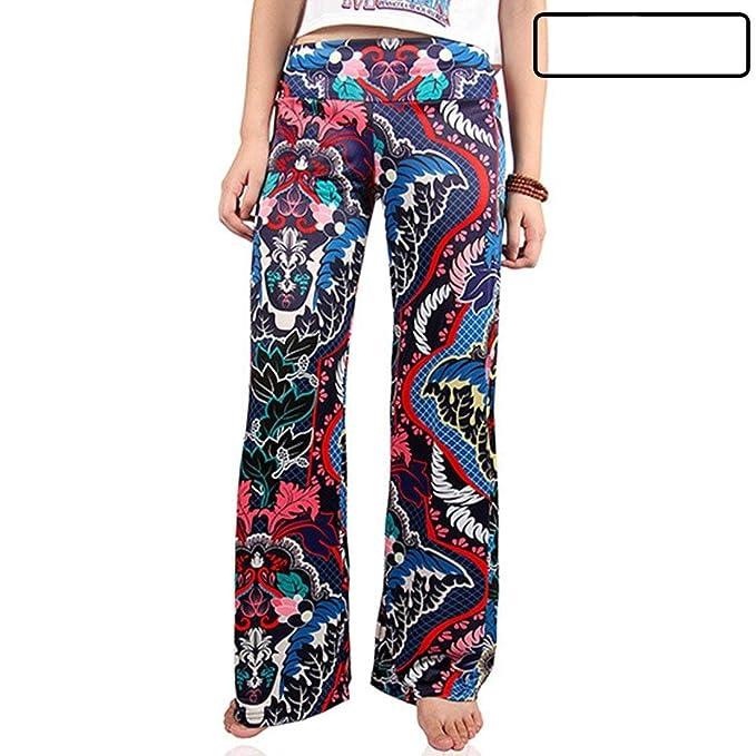 Adelina Damen Breites Bein Hosen Elegante Vintage Gedruckt Freizeithose Fashion  Loose Bequeme Mädchen Elastische Taille Wide 250f6ba73c