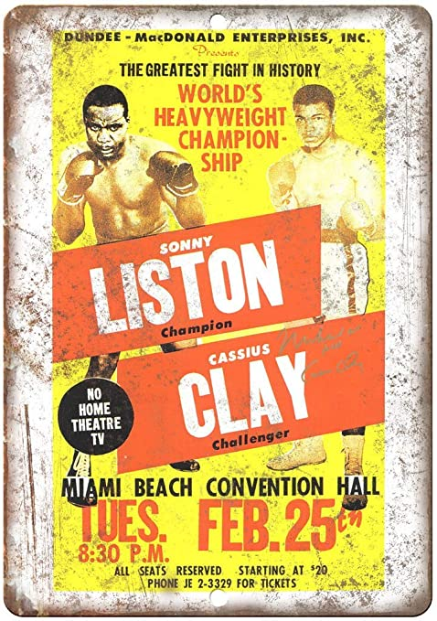 Sonny Liston Cassius Clay Movie Vintage Placa Vintage Metal ...