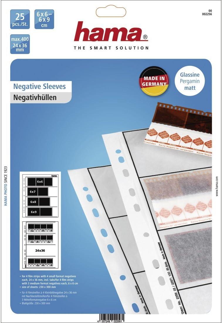 Hama 2250 Negative File Storage Sleeves 24 x 36 mm Frames Glassine Pack of 25 Each Holding 7 Strips of 6