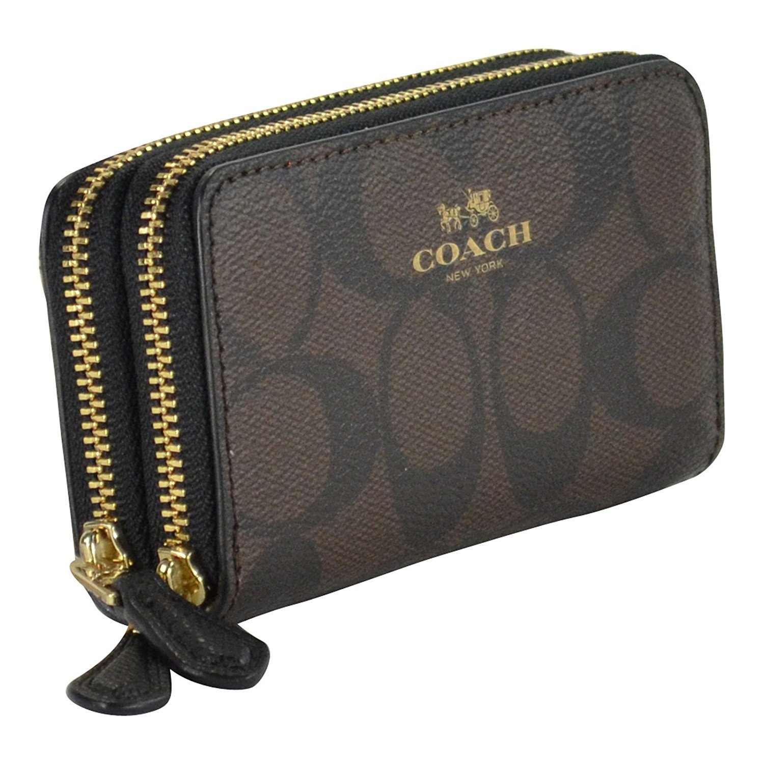 Amazon.com: Coach Signature cierre doble Coin Case Brown ...