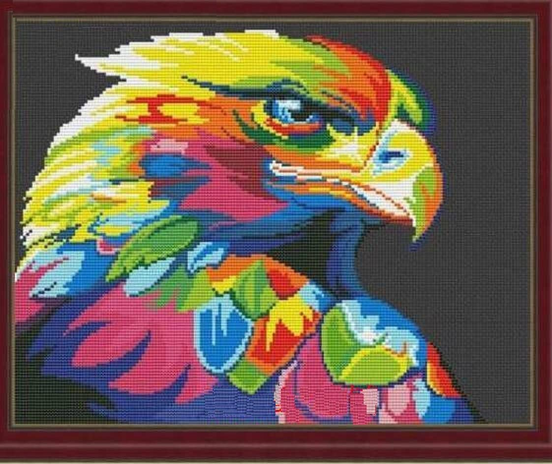 SWEET HOME Colorful Eagle in Dark Counted Cross Stitch Kits, Egyptian Cotton Counted Cross Stitch Kits