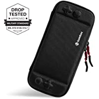 tomtoc Slim Case for Nintendo Switch Portable Hard Shell Travel Carrying Case Cover with 8 Game Cartridges and an Accessories Pouch for Nintendo Switch Console, Black