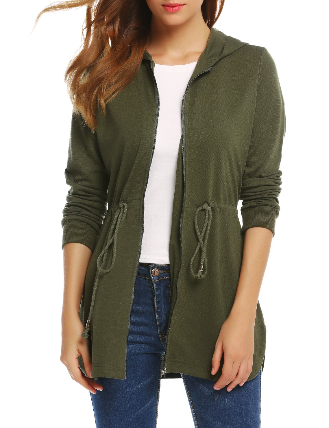 SE MIU Women's Long Sleeve Curved Hem Zip Up Hooded Jacket With Drawstring