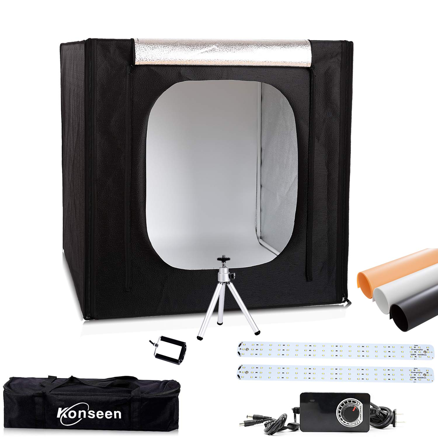 16'x16'x16' Tabletop Dimmable LED Mini Cube Lightbox, Photo Shooting Tent for Product Photography Studio Lighting with Mini Tripod, Clamp, 3 Color PVC Backgrounds Konseen