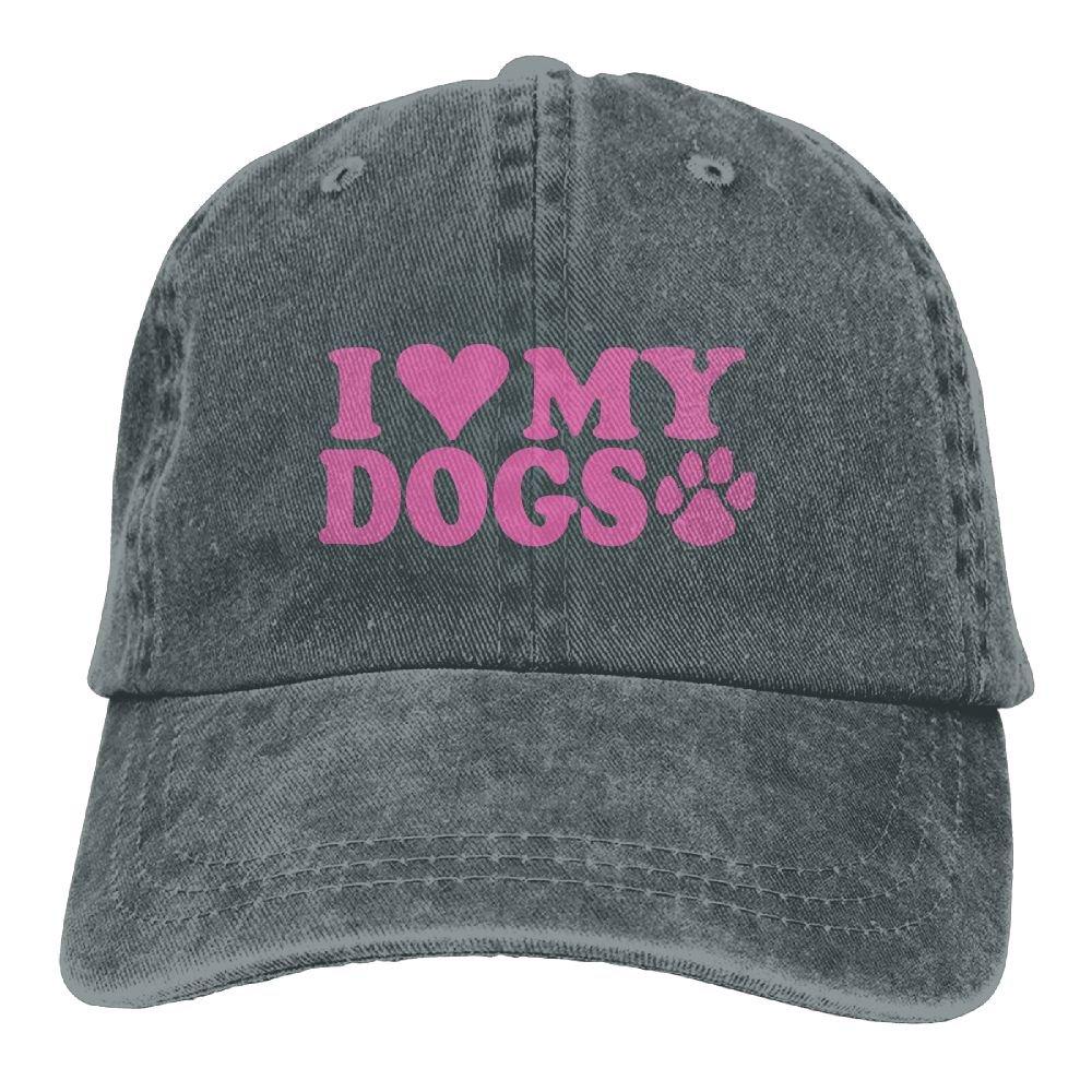Unisex Baseball Cap Denim Fabric Hat I Love My Dogs PAW Adjustable Snapback Sunbonnet