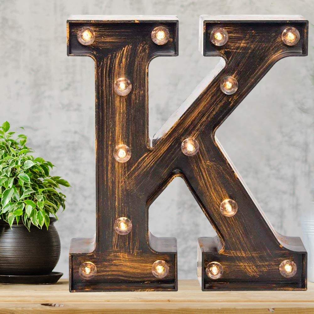 Amazon Com Pooqla Vintage Light Up Marquee Letters With Lights Illuminated Industrial Style Lighted Alphabet Letter Signs Coffee Bar Apartment Bedroom Wall Home Initials Decor K Home Kitchen