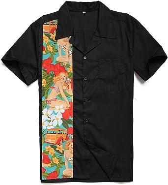 Candow Look Hombres Rockabilly Retro Americano Acampar Camisas Hip Hop Vaquero: Amazon.es: Ropa y accesorios