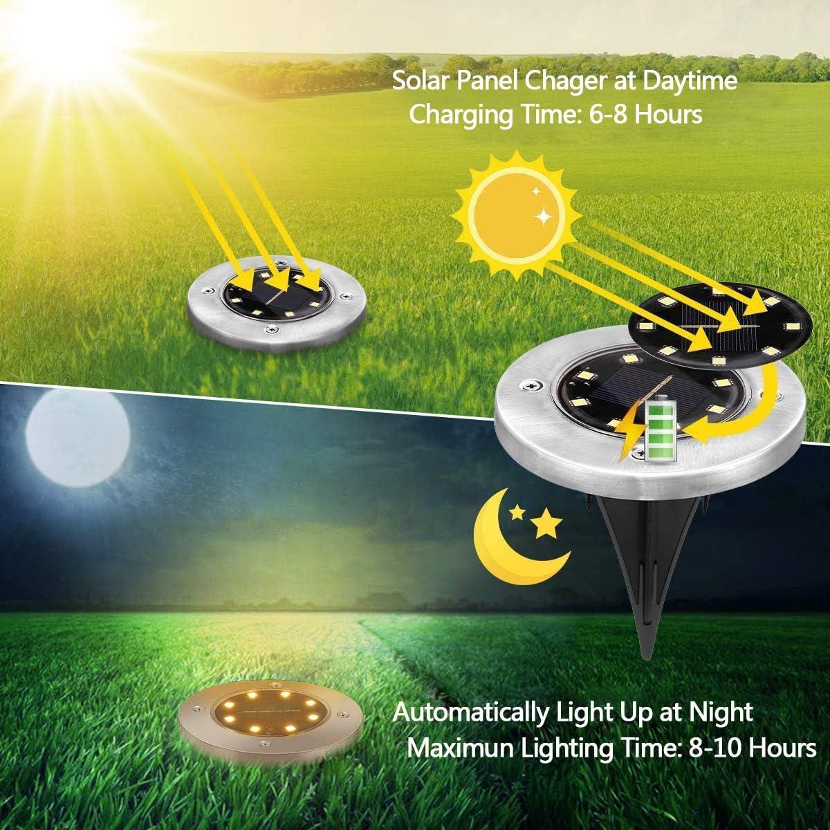 BOZHZO Solarlicht f/ür Au/ßen Landschaft LED Gartenleuchte Solar IP65 Wasserdichte Solarleuchten Wei/ß Rasen 8 ST/ÜCKE Garten Deko F/ür Au/ßen