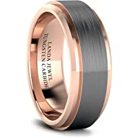 Tungsten Carbide 8mm Wedding Band for Men Beveled Edges Highly Polished and Center Brushed Comfort Fit