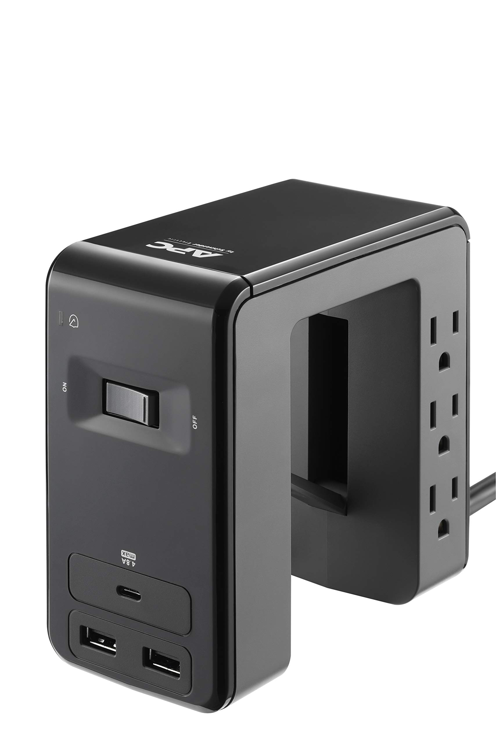 APC Desk Mount Power Station, 6 Outlet U-Shaped Surge Protector, 1080 Joule of Surge Protection with 1 Type C USB Charging Port, and 2 Type A Charging Ports (PE6U21), Black