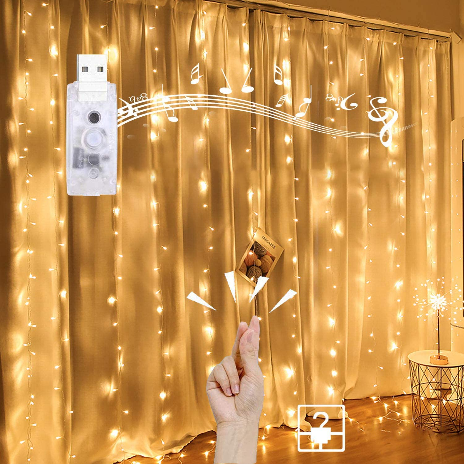 Homemory Hanging Window Curtain Lights 9.8 Ft Dimmable & Connectable, USB Powered with Remote, 4 Music Sync Function Twinkle with Any Voice for Party Wall Decorations (Warm White, 15 Hooks)