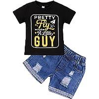 2Pcs Bébé Garçons T-shirt ange Tops Bib Pants Overalls avec nœud papillon Fête Outfits