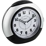 Black & Silver Alarm Clock with Silent Sweep No Ticking Feature plus Snooze & Light