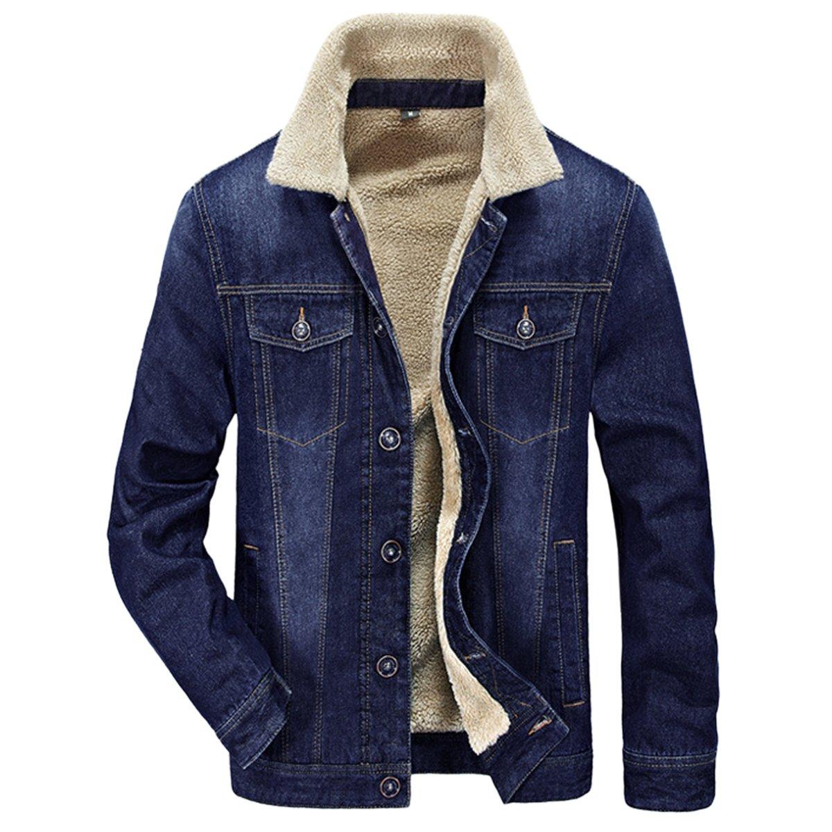 Pishon Men's Denim Jean Jacket Button Front Slim Fit Sherpa Lined Trucker Jacket