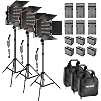 Neewer 3-Pack Dimmable Bi-color 660 LED Video Light with Barndoor and 6.5 feet Light Stand, 6-Pack Rechargeable 6600mAh Li-ion Battery and Charger Lighting Kit for Photo Studio Shooting(Red)
